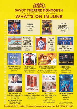 Savoy Theatre Whats On – June 2018